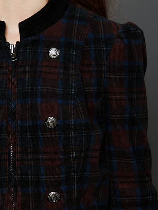 Plaid Corduroy Lady Coat