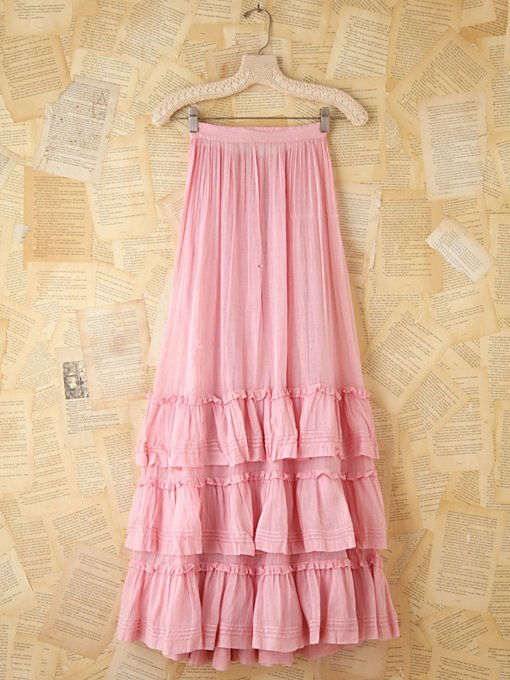 Free People Vintage Pink Cotton Long Skirt in vintage-skirts