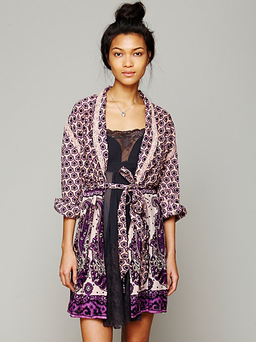 Free People FP ONE Border Print Sleep Robe in Kimonos