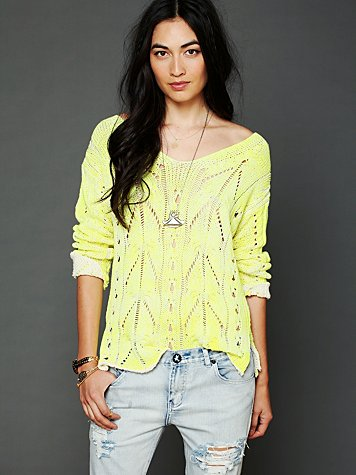 Free People Spray Cable Pullover