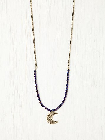 Free People Druzy Moon Pendant