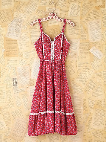 Free People Vintage Red Ditzy Floral Dress
