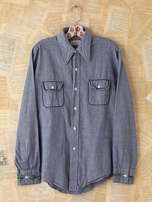 Free People Vintage Embroidered Chambray Shirt in vintage-jeans