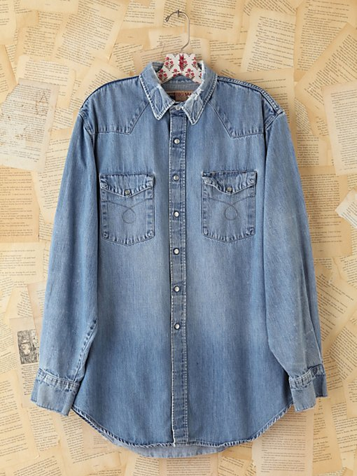 Free People Vintage Denim Button Front Shirt  in vintage-jeans