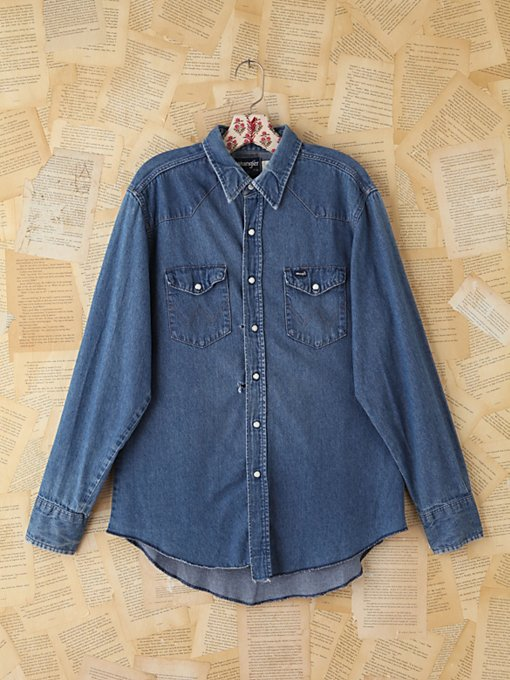 Free People Vintage Wrangler Denim Shirt in vintage-jeans