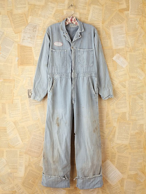 Free People Vintage Striped Denim Jumpsuit in vintage-jeans