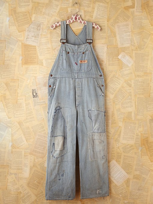 Free People Vintage Big Mac Railroad Striped Overalls in vintage-jeans