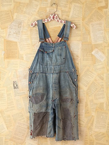 Free People Vintage Patched Denim Cutoff Overalls