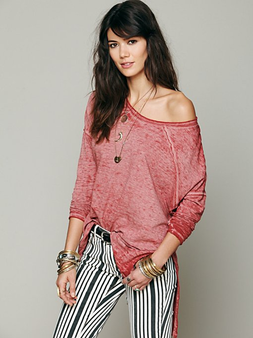 Free People Super Soft Washed Pullover in Oversized-Tees