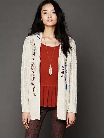 Free People Whip Stitch Hooded Cardigan