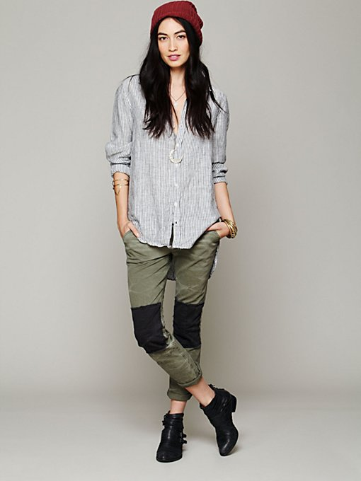 Free People FP Patched Twill Herringbone Pant in Skinny-Pants
