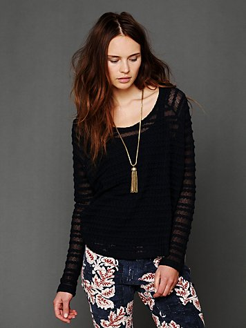 Free People Lacey Long-Sleeve Chiffon Top