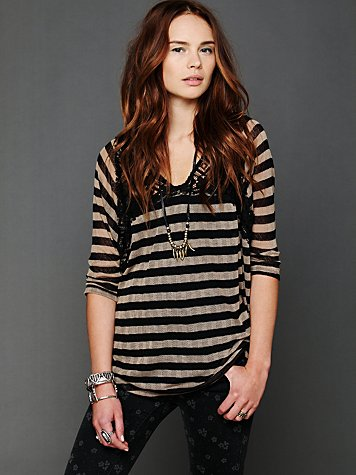 Stripe Crochet Lace Top