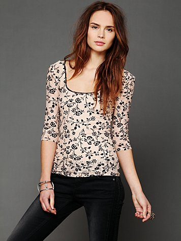 Printed Lace Layering Top