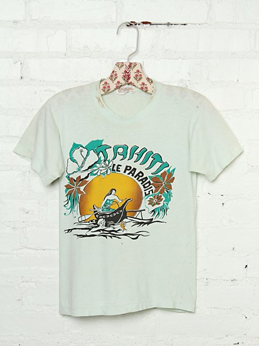 Vintage Cutout Back Tahiti Le Paradis Graphic Tee in Vintage-Loves-vintage-tees