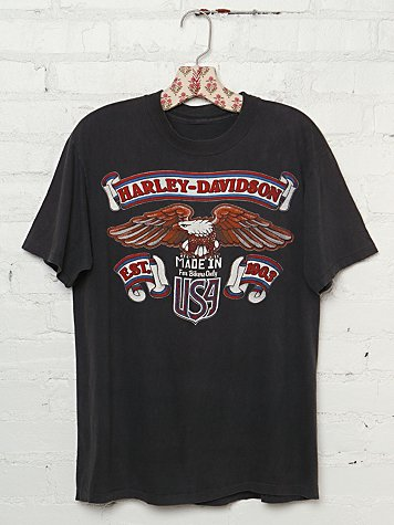 "Free People Vintage Harley Davidson ""Made in USA"" Graphic Tee"