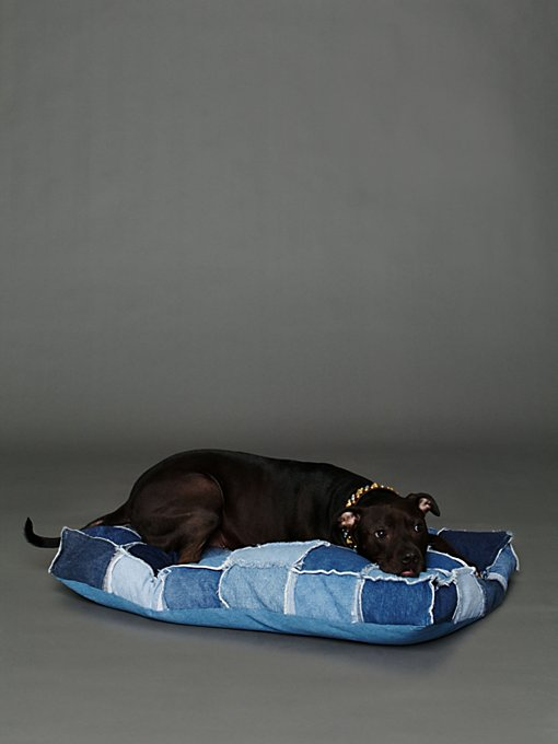 All Paws Natural Patched Denim Dog Bed in Pet-Beds