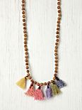Prayer Bead Pompom Necklace