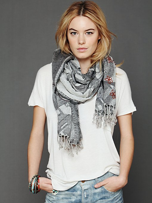 Woven Embroidered Scarf in clean-slate