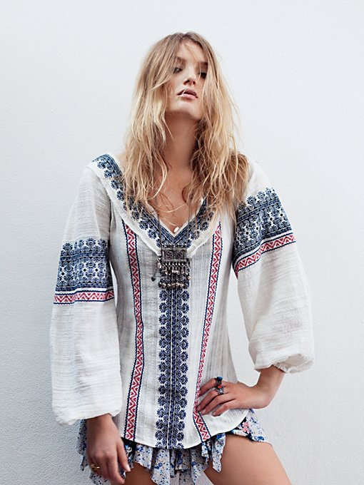 Free People All Roads Embroidery Double V Tunic in cotton-tunics