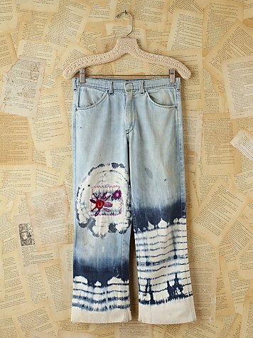 Free People Vintage Acid Wash Jeans With Tie Dye