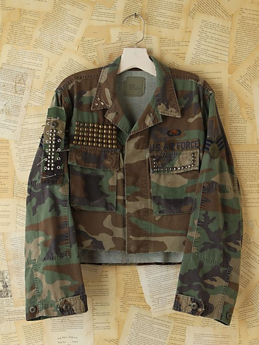 Free People Vintage Studded and Cropped Camo Jacket in vintage-jackets
