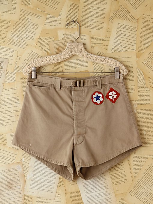 Free People Vintage Khaki High-Waisted Patched Shorts in vintage-skirts