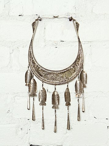 Free People Vintage Etched Metal Collar Necklace
