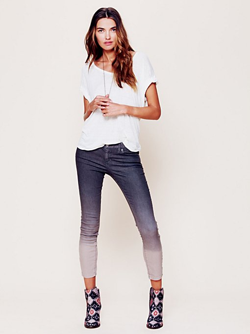 Free People Dip Dye 5 Pocket Skinny Jeans in Jeans