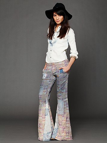 Patchwork Plaid Flares