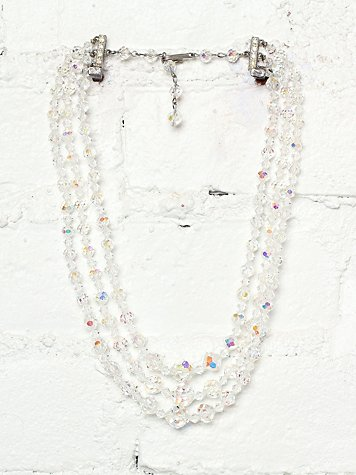 Free People Vintage Triple Tiered Crystal Bead Necklace