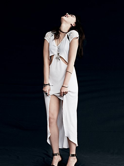 Nightcap Castaway Cap Sleeve Dress in white-maxi-dresses