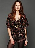 Gauzy Printed Cape Top