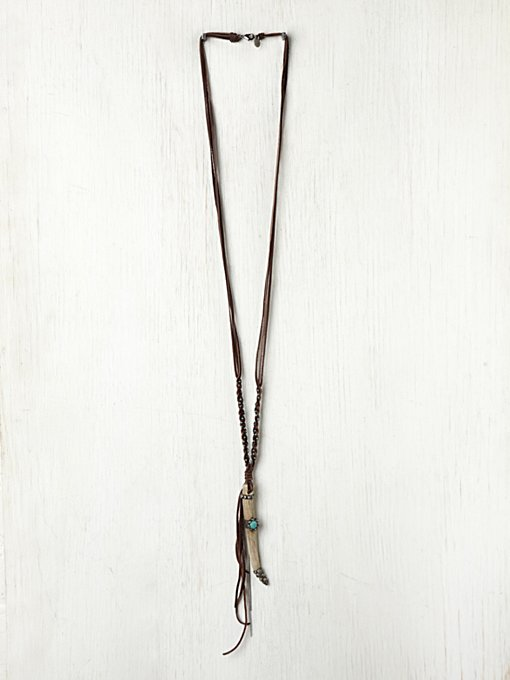 Gypsy Junkies Long Leather Horn Pendant in beach-jewelry