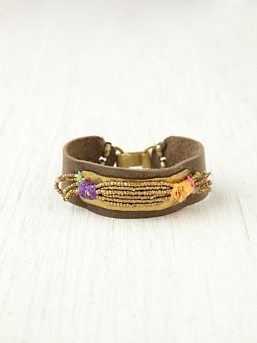 De Petra Gold Spun Leather Bracelet in beach-jewelry