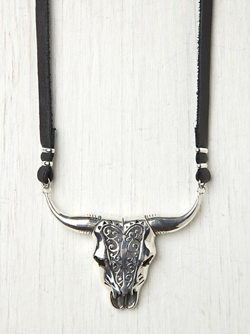 Buffalo On Leather Necklace