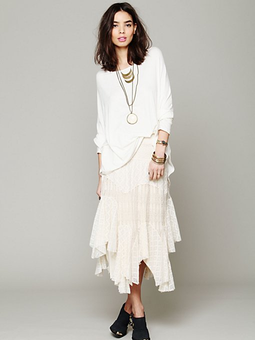 Free People Diamond Knit Lace Skirt in skirts