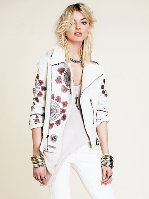 Free People FP New Romantics Embroidered Moto Jacket in Jackets