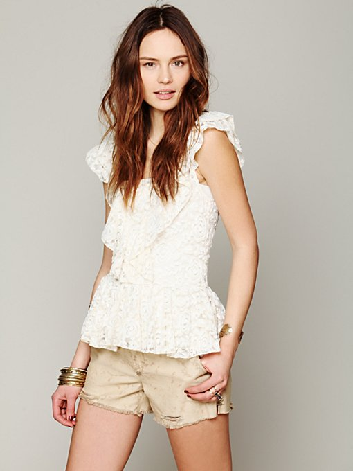 Free People Destroyed Chino Cutoff in Shorts
