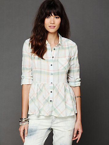 Free People Plaid Peplum Pleated Top
