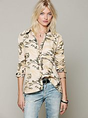 Camo Buttondown Hi Low Top