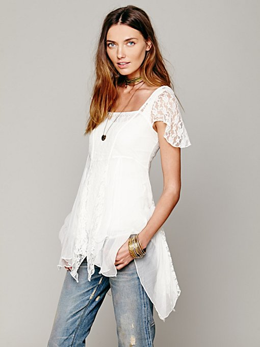 Free People On A Whim Lace Top in tunic-sweaters