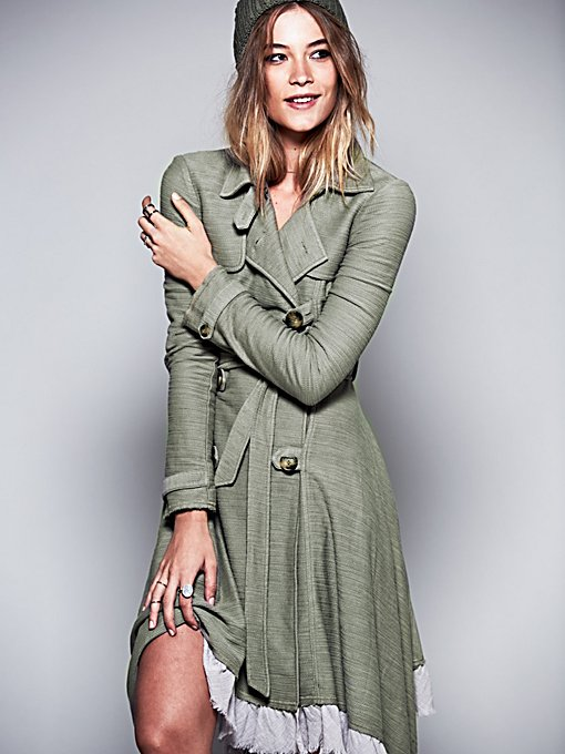 Ruffle Trim Trench Coat in structured
