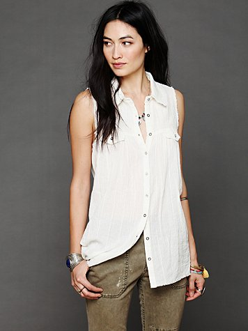 Free People High And Low Buttondown