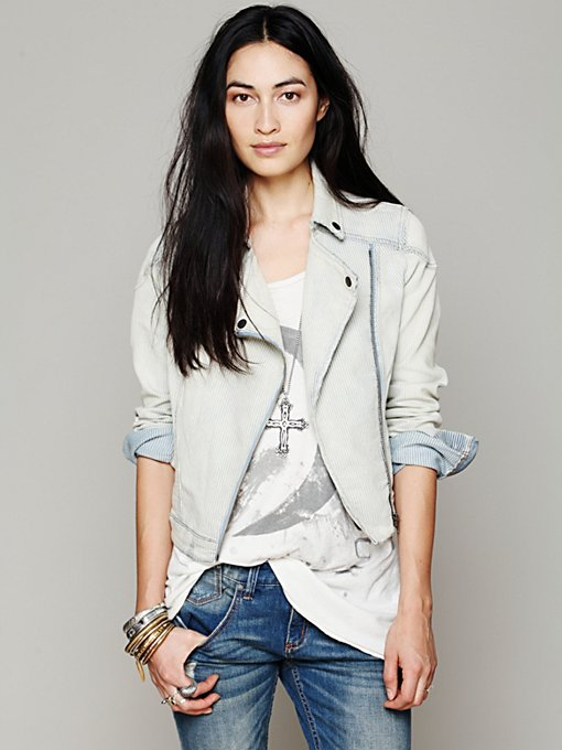 Railroad Stripe Moto Jacket in Jackets