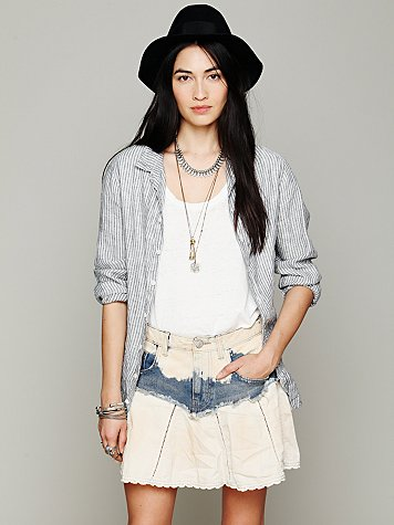 Free People Mississippi Denim Swing Skirt