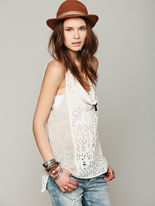Free People Cowl Neck Sleeveless Sweater in knit-sweaters