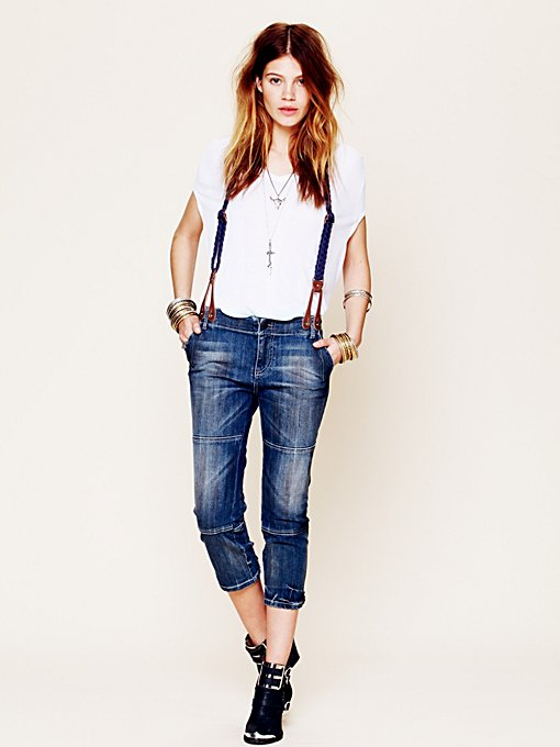 Suspender Cropped Jeans  in denim