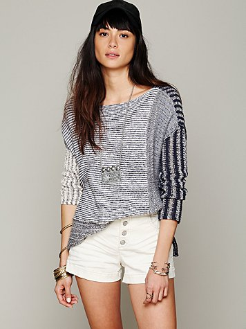 Free People Mixed Stripe Pullover