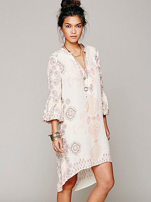 Free People Peacemaker Print Shapeless Dress  in Day-Dresses